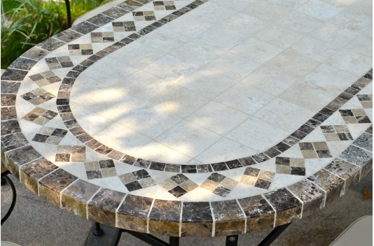 Table mosaïque de jardin 240-180-160 ovale marbre et travertin OVALI