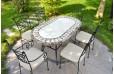 Table de jardin mosaïque 240-180-160 ovale marbre travertin OVALI