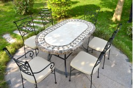 Table de jardin mosaïque 240-180-160 ovale marbre travertin OVALI