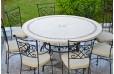 Table de jardin mosaïque ronde pierre marbre 160-125 IMHOTEP