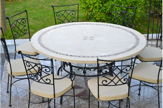 Table De Jardin Mosaique.Table De Jardin Mosaique Ronde Pierre Marbre 160 125 Imhotep