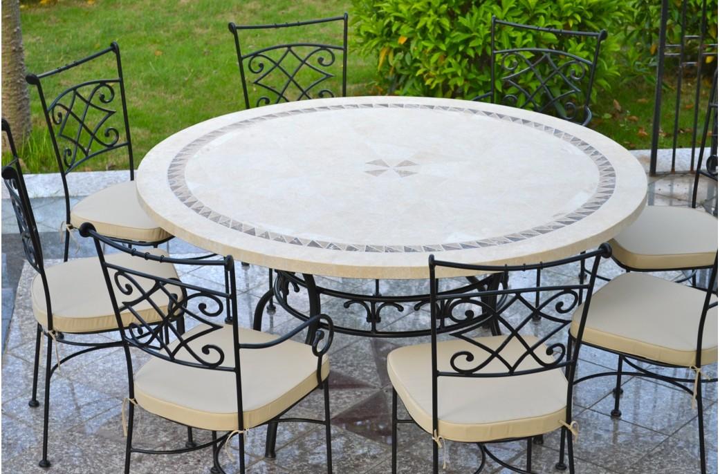 Table de jardin en mosaïque ronde pierre de marbre 160-125 IMHOTEP