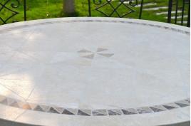 Table de jardin mosaïque ronde en pierre marbre 160-125 IMHOTEP