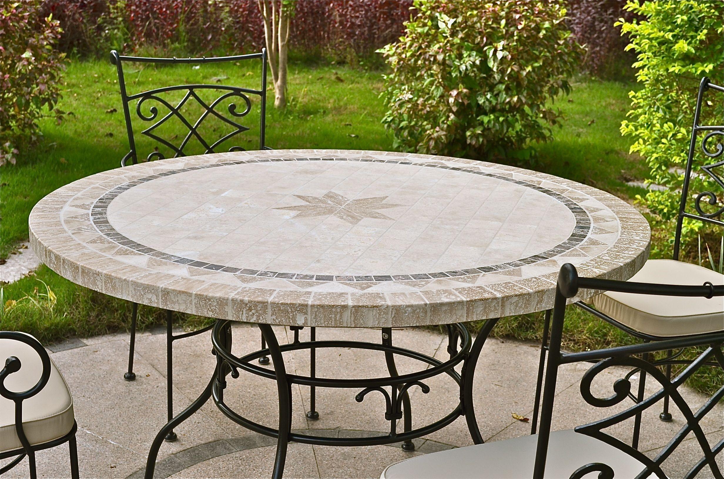 Table de jardin pierre ronde mosaïque marbre 125-160 MEXICO