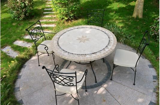 Table ronde 125-160cm mosaïque pour extérieur et intérieur - MEXICO