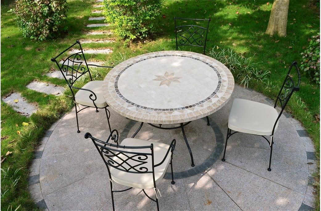 Table de jardin mosaïque pierre ronde mosaïque marbre 125 160 MEXICO