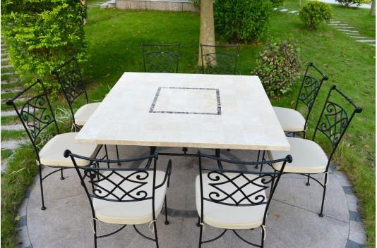 Table de jardin carrée 140cm mosaïque extérieur intérieur marbre CAPRI