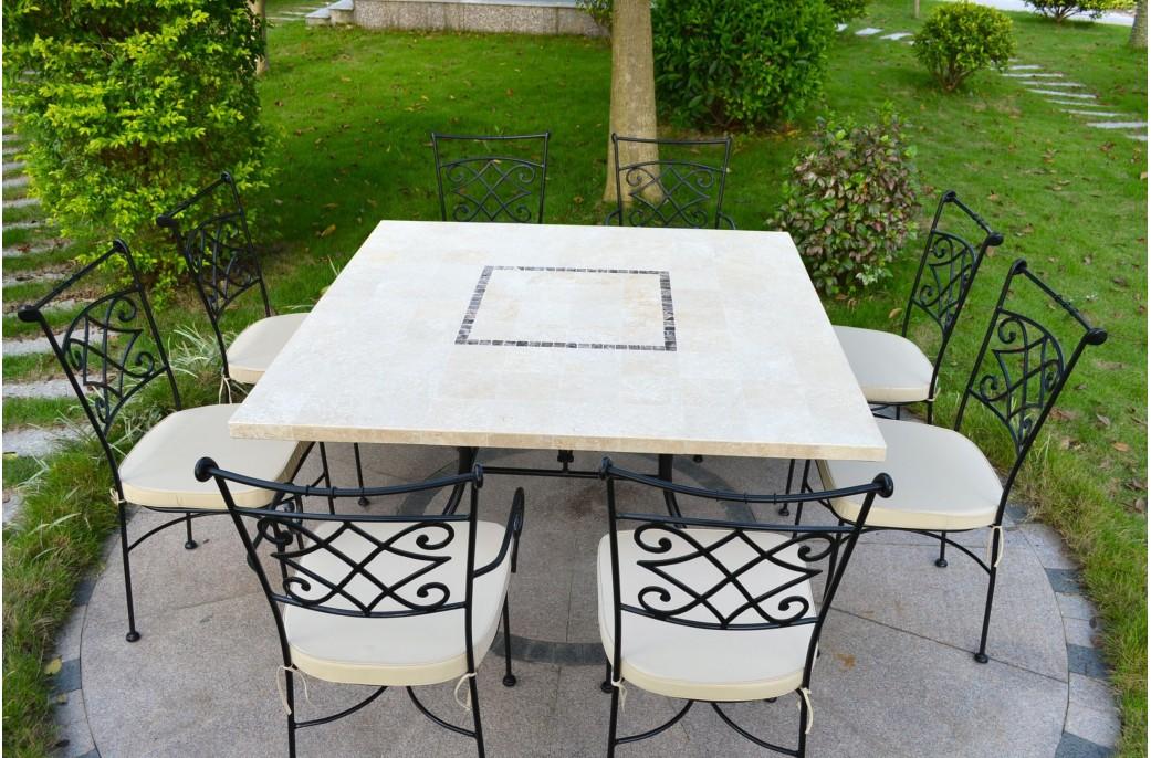 CAPRI : Table mosaïque carrée pour extérieur intérieur en marbre 140x140