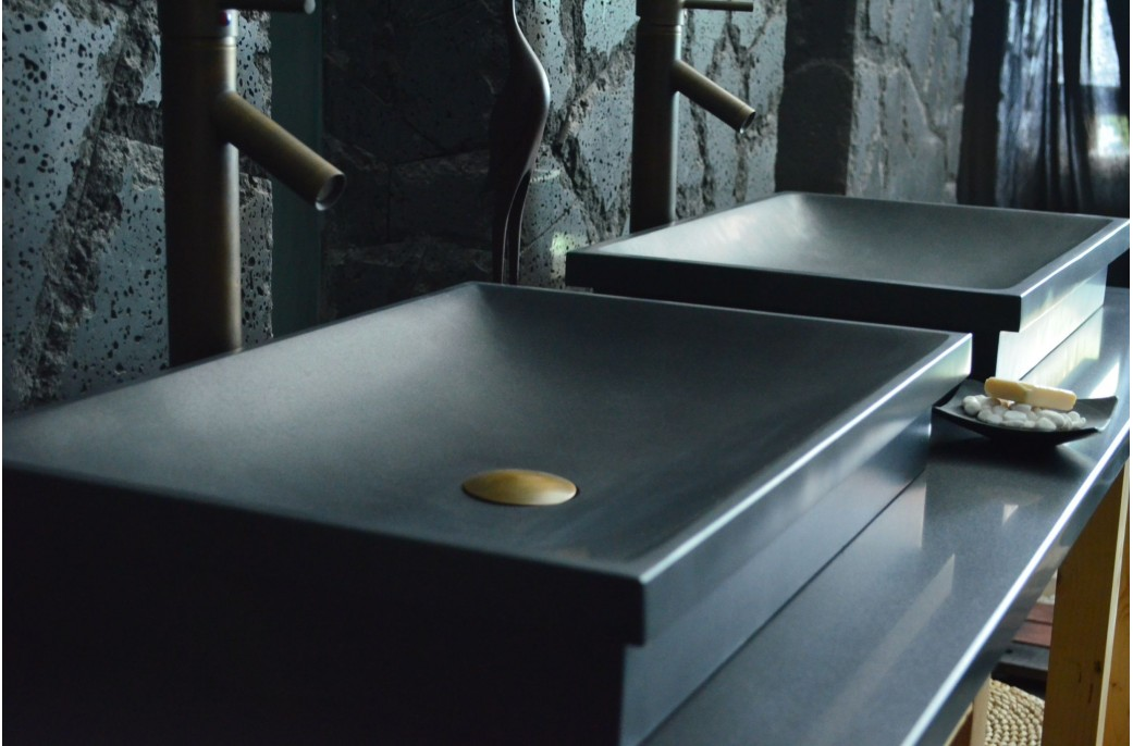 Vasque salle de bain en pierre granit noir véritable DUNE SHADOW 60x40
