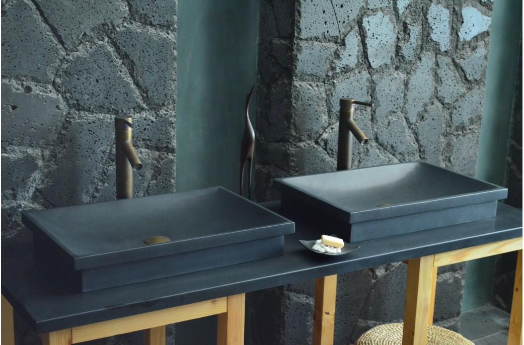 Beautiful evier salle de bain noir contemporary seiunkel for Evier double vasque salle de bain