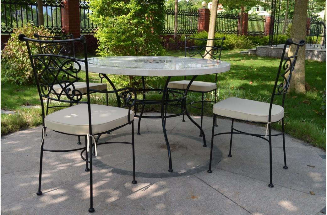 marbella table ronde 125cm en mosa que emperador et travertin living 39 roc. Black Bedroom Furniture Sets. Home Design Ideas