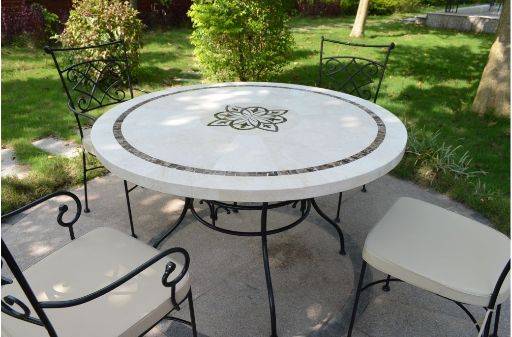 MARBELLA: Table Ronde 125CM en mosaïque Emperador et travertin ...