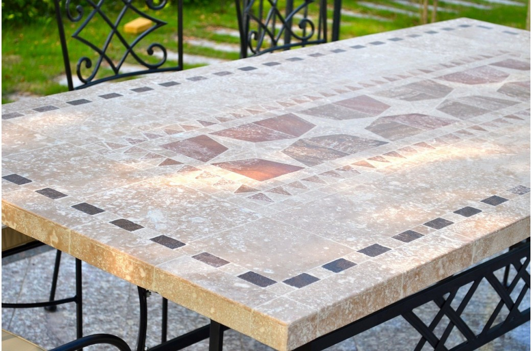 Table de jardin mosa que en pierre naturelle tampa 160 et 200cm living 39 roc - Table de jardin en mosaique ...