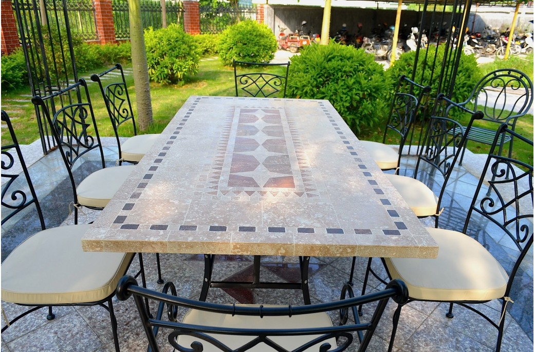Table de jardin mosaïque en pierre naturelle TAMPA 160 et 200cm ...