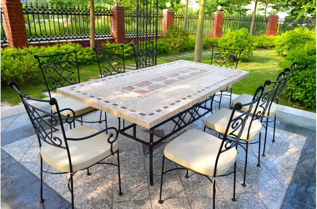 Table de jardin en pierre naturelle mosaïque 160-200-240cm - TAMPA