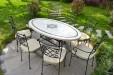 Table de jardin mosaïque en marbre travertin 180 cm ELLIPSE