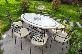 Table de jardin mosaïque en marbre travertin 180 cm ELLIPSE