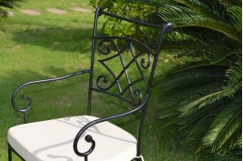 Chaise fauteuil en fer forgé plein et Coussin lavable DIAMOND