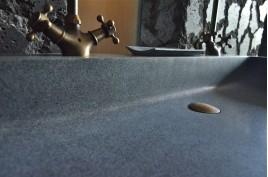 lavabo salle de bain double vasque en pierre granit gris LOOAN