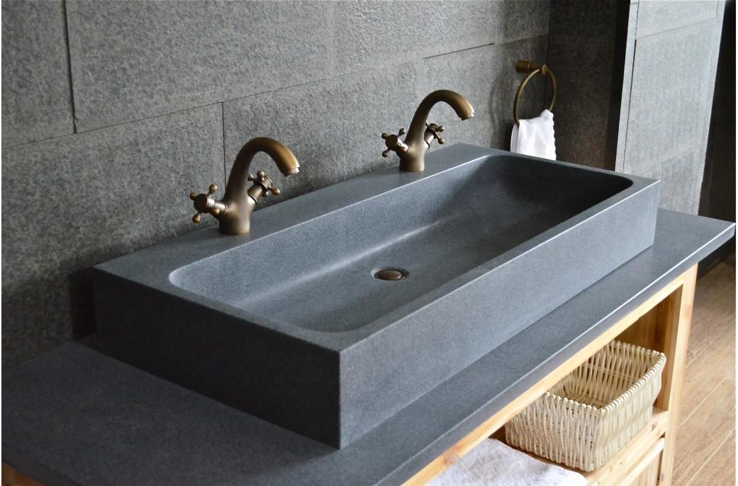 Lavabo Salle De Bain Double Vasque En Pierre Granit Gris