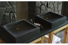 Vasque salle de bain en pierre noire 40 & 60 Basalte KIAMA