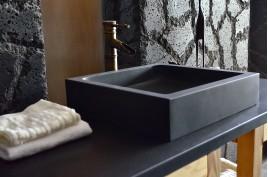 Vasque en pierre naturelle basalte noir véritable 40-60 KIAMA