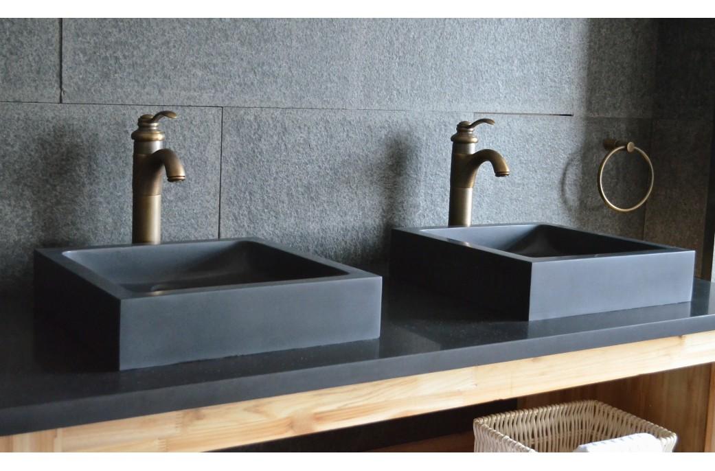 Vasque salle de bain en pierre noire 40 & 60 Basalte véritable KIAMA