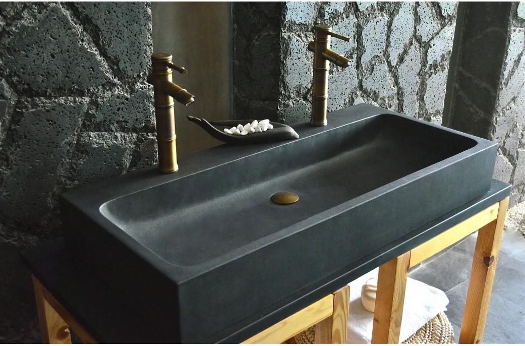 double vasque en pierre de basalte noire 100x46 looan dark. Black Bedroom Furniture Sets. Home Design Ideas