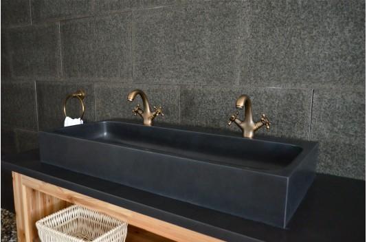 Double vasque 100x46 en pierre de basalte noir  - LOOAN DARK