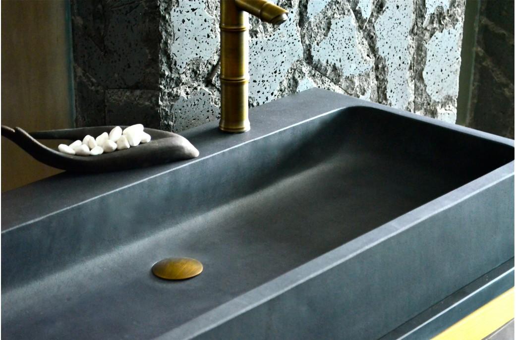 double vasque en pierre de basalte noire 100x46 - looan dark - Vasque Rectangulaire Salle De Bain