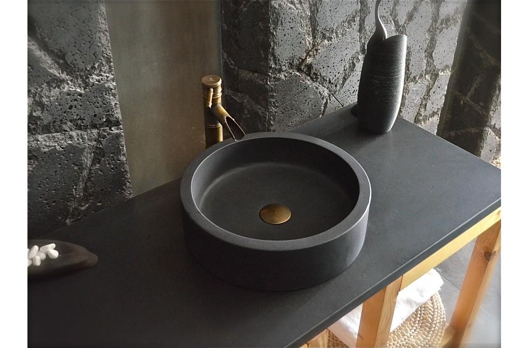 vasque a poser noire Vasque en pierre ronde 40x11 Basalte noir luxe - RONDO DARK