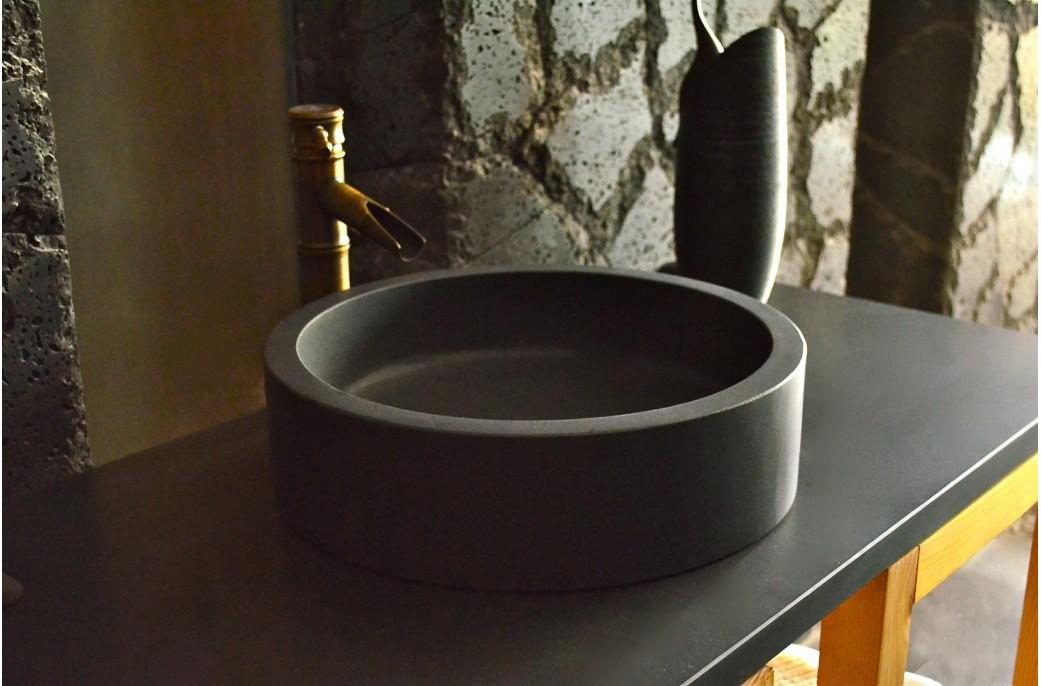 Vasque en pierre ronde 40x11 Basalte noir luxe - RONDO DARK