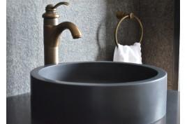 Vasque salle de bain ronde pierre de basalte noir RONDO DARK