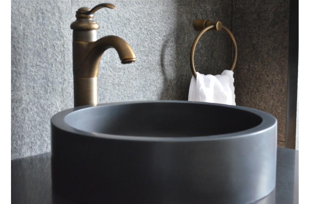 Vasque salle de bain ronde Dia 40cm pierre de basalte noir RONDO DARK