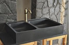 Évier en pierre granit noir spécial cuisine 90x60 KARMA SHADOW