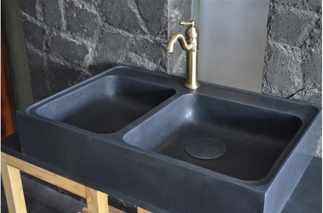 évier En Pierre Pour Cuisine Karma Shadow 90x60 Granit Noir Livingroc