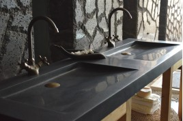 Double vasque en pierre 160x50 granit noir Luxe FOLEGE SHADOW