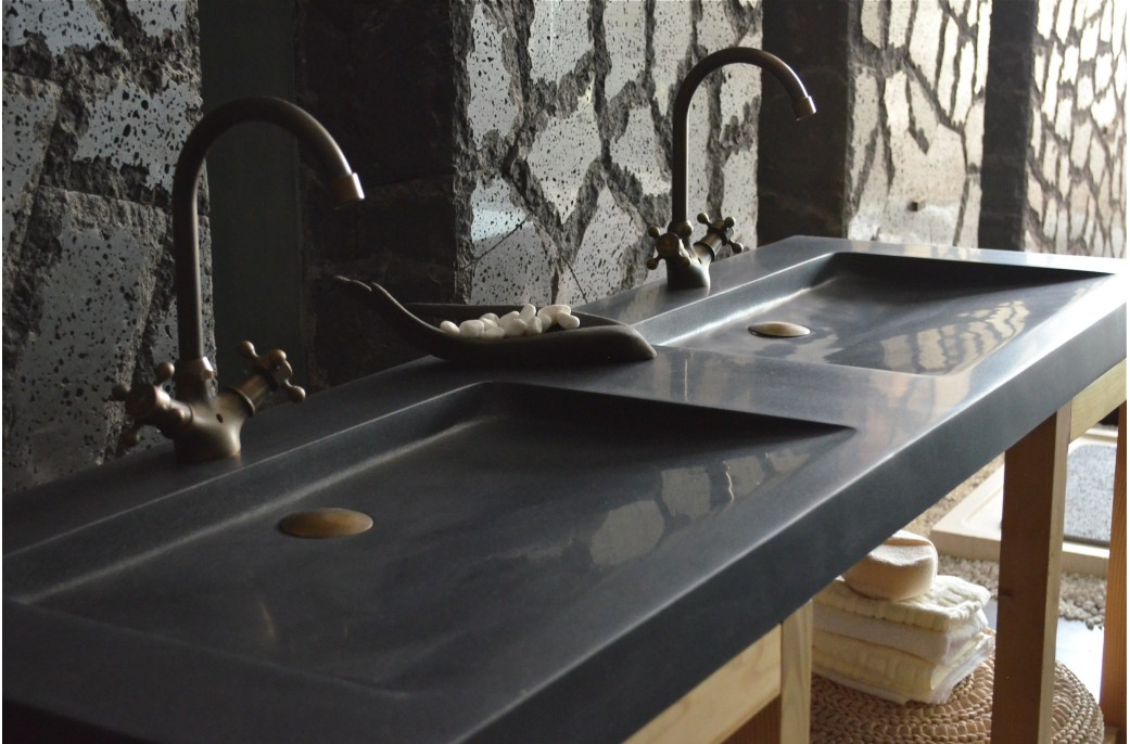 Vasque Granit Salle De Bain.Double Vasque En Pierre Salle De Bain 160x50 Granit Noir Folege Shadow