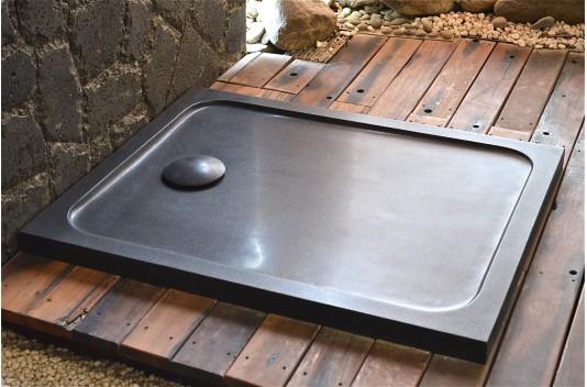 Receveur de douche en pierre MERCURION SHADOW Granit noir LUXE 100x80
