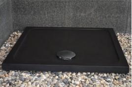 Bac à douche noir 90x90 taillé dans le granite SERENA SHADOW