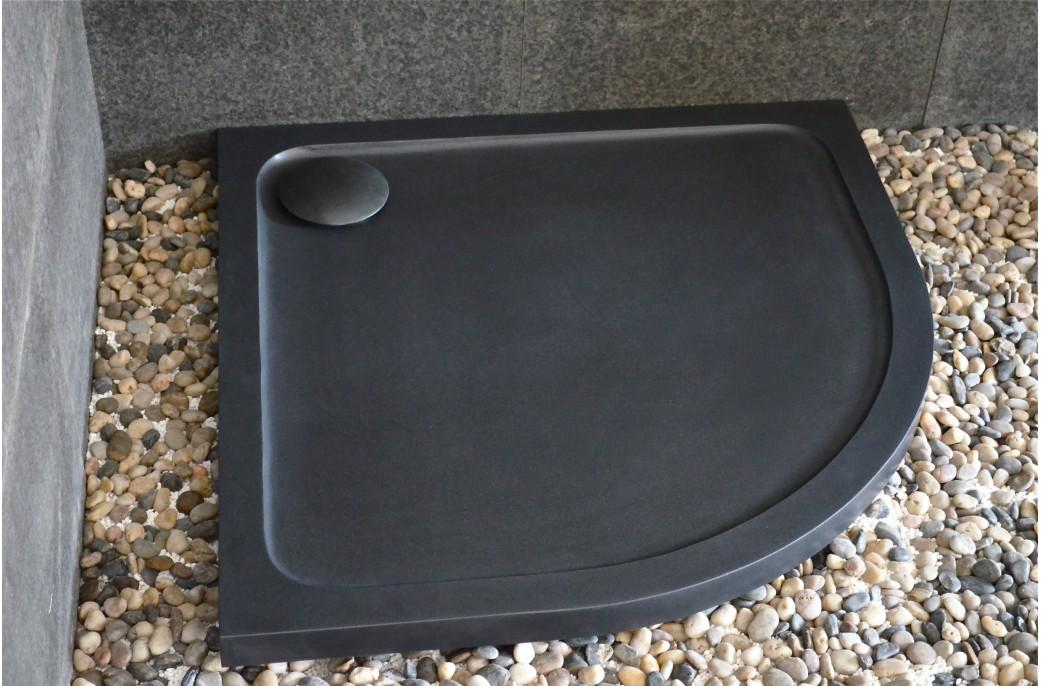 receveur de douche en pierre noire 1 4 rond 90x90 lagoon dark. Black Bedroom Furniture Sets. Home Design Ideas
