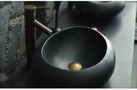 Vasque à poser en pierre naturelle granit noir véritable luxe COCOON SHADOW
