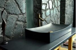 Vasque salle de bain pierre noire granit véritable TOJI SHADOW