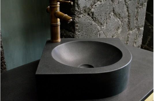 Lave-mains d'angle granit noir 34x34 - SAMOA BLACK
