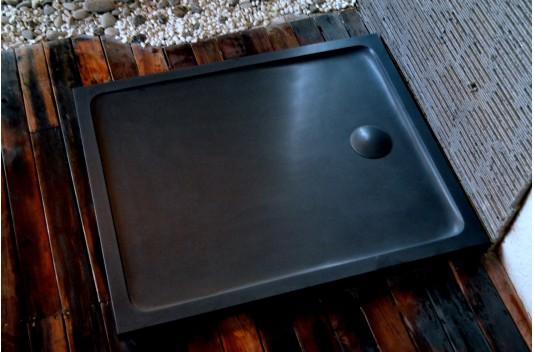 Receveur Bac à douche 120X100 granit noir haut de gamme KIAORA SHADOW