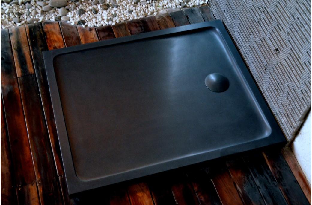 Kiaora Shadow Receveur De Douche 120x100 Granit Noir Haut De Gamme