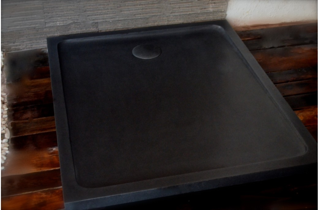 kiaora shadow receveur de douche 120x100 granit noir haut de gamme living 39 roc. Black Bedroom Furniture Sets. Home Design Ideas