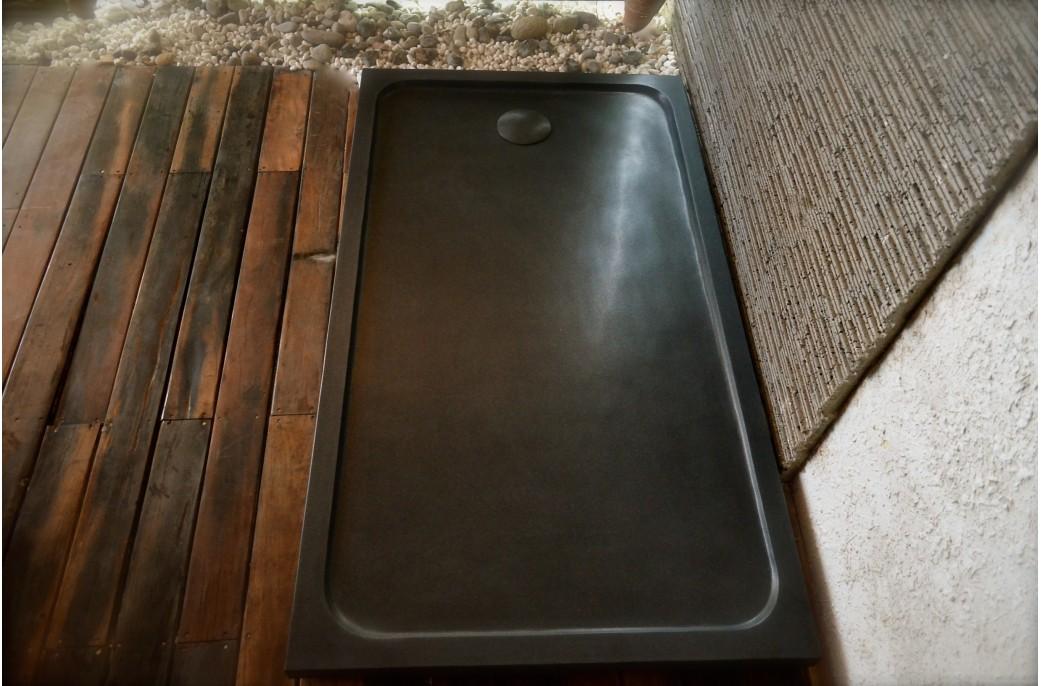 Receveur de douche en pierre SPACIUM SHADOW Granit noir véritable 140x90