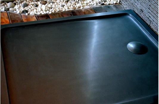 120X80 Receveur de Douche à l'italienne Granit Noir - PALAOS SHADOW
