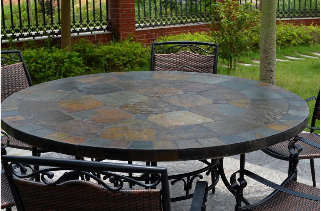 125 160 Table De Jardin Ronde En Mosa 239 Que D Ardoise Oceane